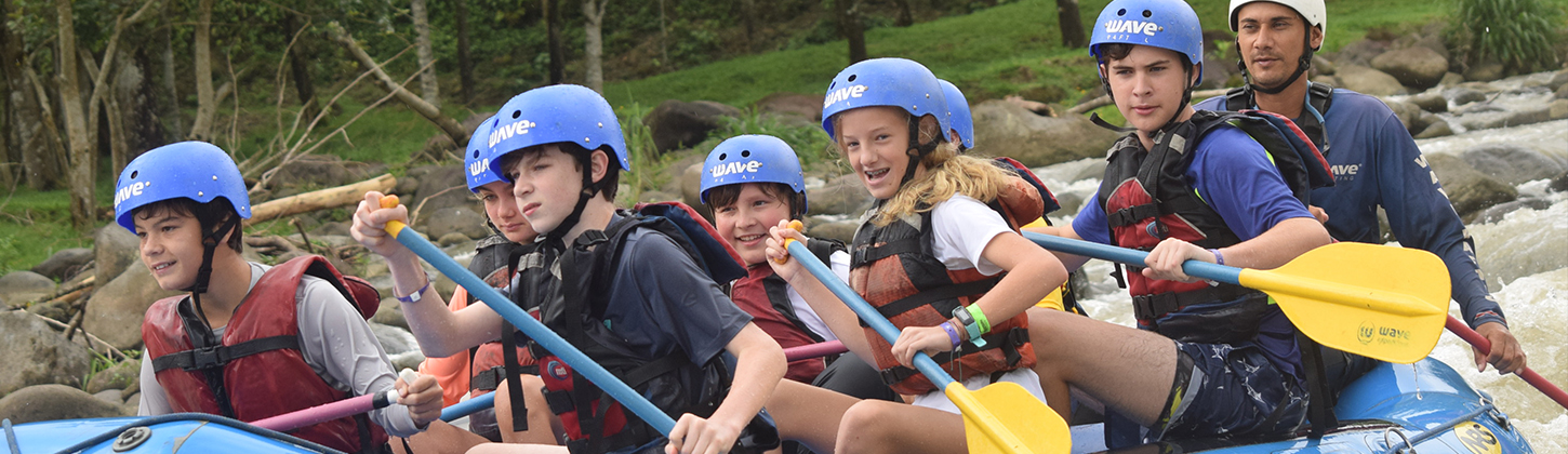 students on white water rapids trip
